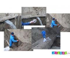 Материалы для гидроизоляции старого бетонного шва с активной течью. Дегидрол марок 5 и 8
