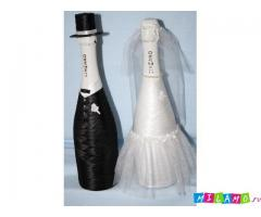 оформляю свадебное шампанское