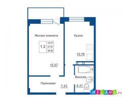 1-к квартира, 38,9м2, на берегу Невы за 1 633 000р.